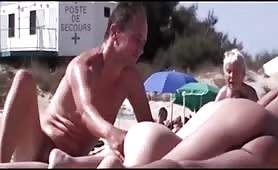 Public beach pussies and blowjob